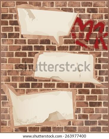 Speech bubbles on brick wall texture - stock vector