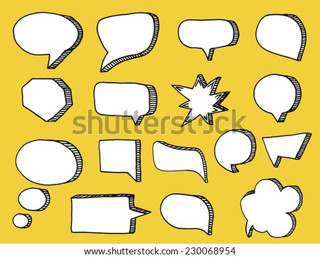 Speech bubbles on yellow background.