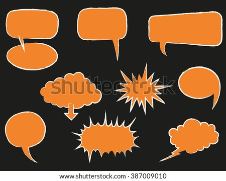 Speech Bubbles or Thought Bubbles Sketched or Hand Drawn - Illustration - stock vector