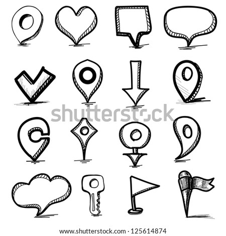 Speech bubbles, pointers and simple shapes collection. Hand drawing sketch vector illustration - stock vector