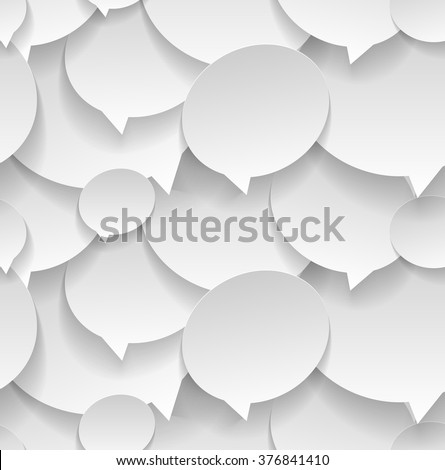 Speech bubbles. Seamless pattern. Sticker cut from paper. Vector illustration 3d style - stock vector