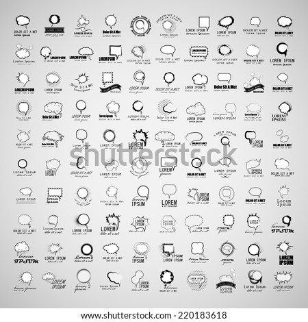 Speech Bubbles Set - Isolated On Gray Background - Vector Illustration, Graphic Design Editable For Your Design - stock vector
