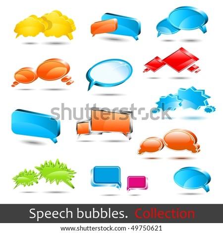 Speech bubbles. Set of hight quality vector 3d element. - stock vector