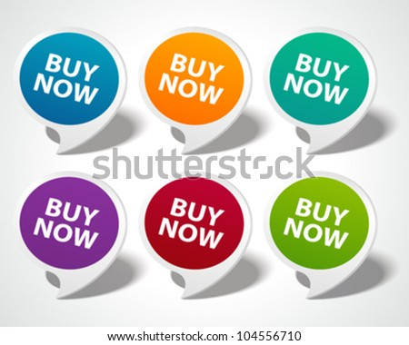 Speech bubbles set with buy now message vector illustration Eps 10. - stock vector