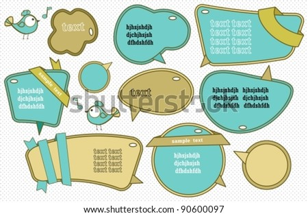 Speech bubbles set with cute bird, vector - stock vector