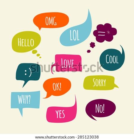 Speech bubbles set with short messages. - stock vector