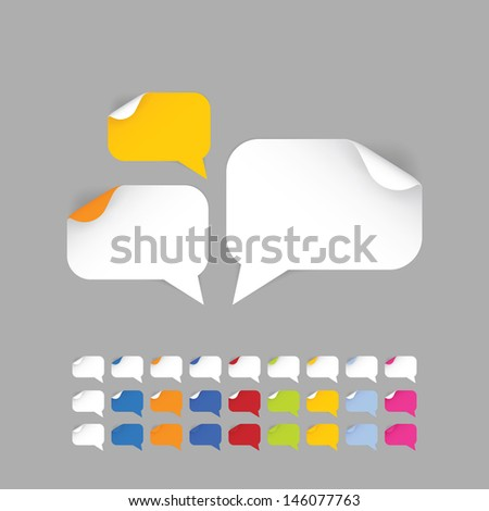 Speech bubbles - stickers in nine different colors. Colorfully pointers with realistic shadows. Modern design. Elements for websites, posters and covers...