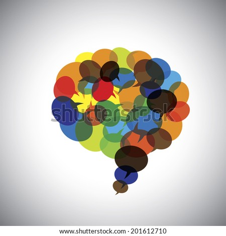 speech bubbles, talk symbols, chat icons together - concept vector graphic. This illustration also represents people community interaction, online chat, company meetings & discussions, brainstorming - stock vector