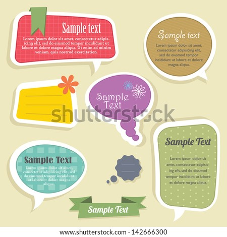 Speech bubbles text box - stock vector