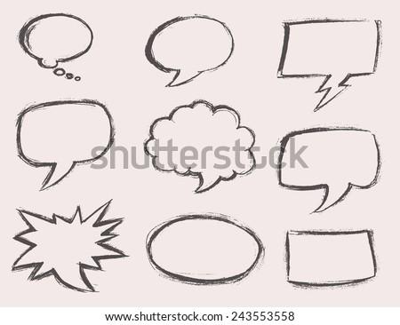 Speech bubbles (voice bubble, talk box) set, vector illustration, hand drawing - stock vector