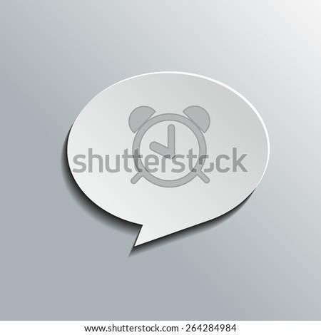 Speech bubbles with alarm clock sign, vector design for website, 3D effekt - stock vector
