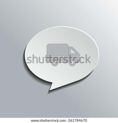Speech bubbles with car (delivery) sign, vector design for website, 3D effekt - stock vector