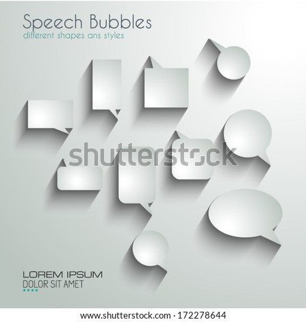 Speech Bubbles with delicate Shadows. Ready to cut and paste on every surface - stock vector