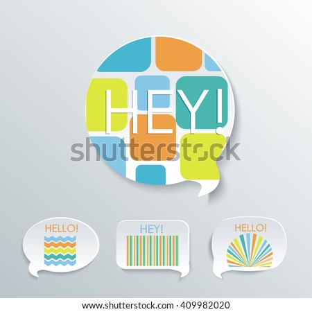 Speech bubbles with different pattern elements.Vector set. - stock vector