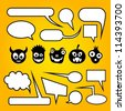Speech bubbles with funny monsters. - stock vector