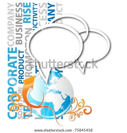 speech bubbles with globe-vector background - stock vector