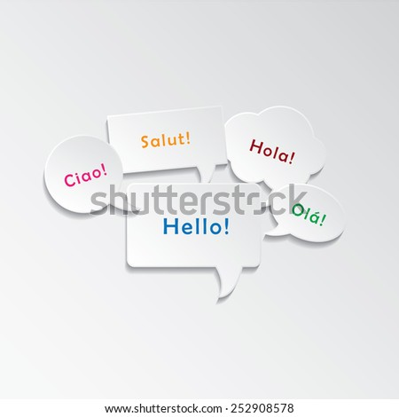 "Speech bubbles with ""Hello"" in different languages  - stock vector"