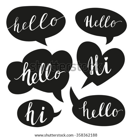 Speech bubbles with Hello word. Hand drawn vector - stock vector