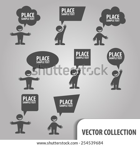 Speech Bubbles with man - stock vector