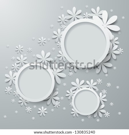 Speech bubbles with paper flowers - stock vector