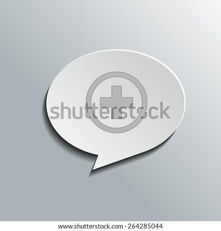 Speech bubbles with plus sign, vector design for website, 3D effekt - stock vector