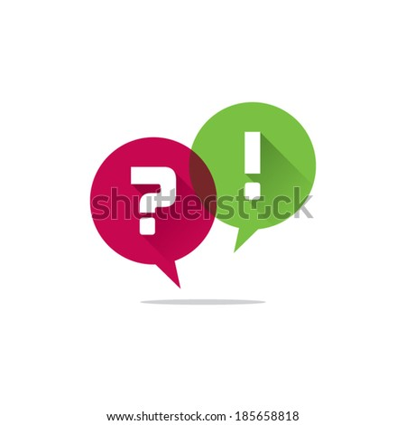 Speech Bubbles With Question and Exclamation Marks - stock vector