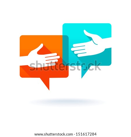 Speech bubbles with shaking hands  - stock vector