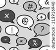 speech bubbles with symbols on light grey - stock vector