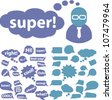 speech & chat bubbles, icons set, vector - stock vector