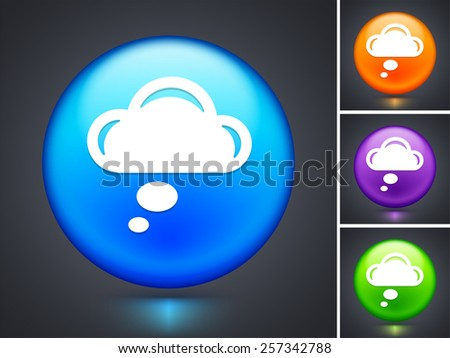 Speech Cloud on Blue Round Button - stock vector