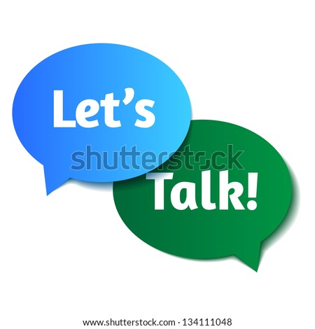 speech clouds let's talk - stock vector