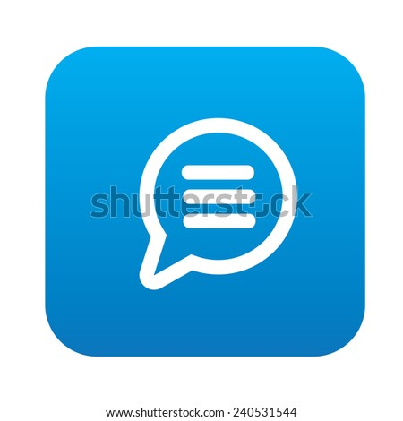Speech design on blue flat button,clean vector - stock vector