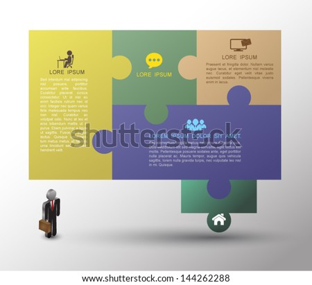 Speech jigsaw puzzle template / can be used for infographics / numbered banners / horizontal cutout lines / graphic or website layout vector / business concept - stock vector