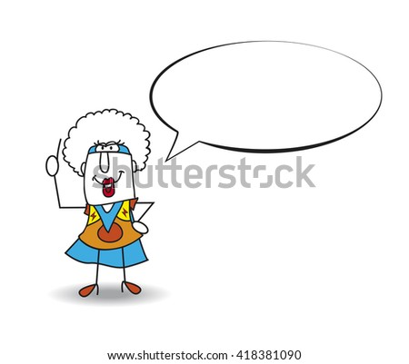 Speech of Superhero Black Mamba. This Afro girl is a superhero. She is talking. Write your text in the bubble speech - stock vector