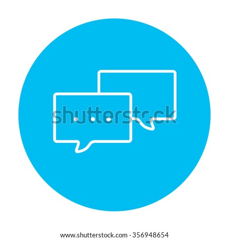 Speech squares with dots inside line icon for web, mobile and infographics. Vector white icon on the light blue circle isolated on white background. - stock vector