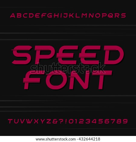 Speed alphabet vector font. Oblique letters and numbers on a dark background. Typeface for your design.
