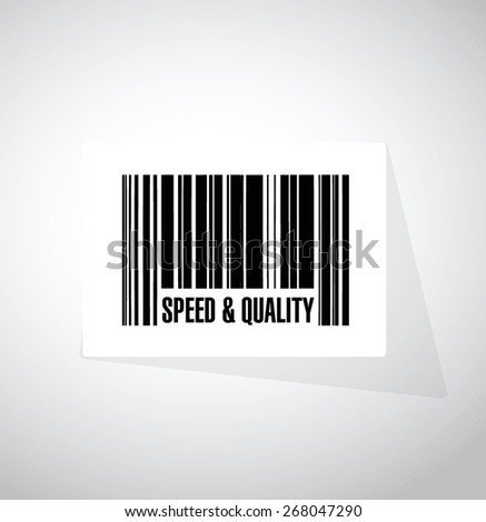 speed and quality barcode sign illustration design over white - stock vector
