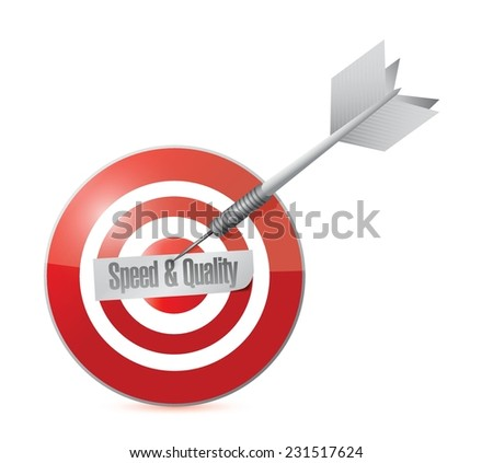 speed and quality target illustration design over a white background - stock vector