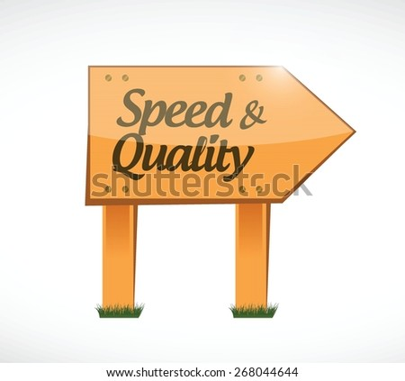 speed and quality wood sign illustration design over white - stock vector