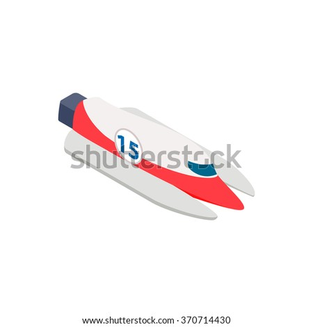 Speed boat isometric 3d icon isolated on a white background - stock vector