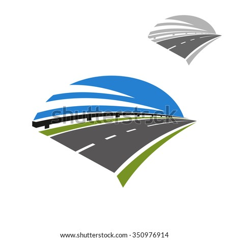 Speed freeway icon with guardrail and blue sky above. Use as travel, transportation or journey design - stock vector