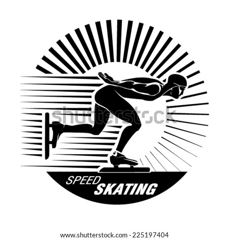 Speed Ice Skating. Vector illustration in the engraving style  - stock vector