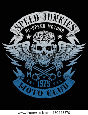 Speed Junkies Motorcycle Vintage Design - stock vector