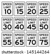 Speed Limit Sign Set - stock vector