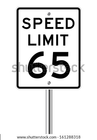 Speed limit 65 traffic light on white - stock vector