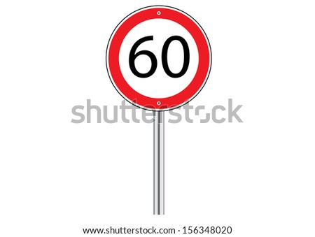 Speed Limit Traffic Road Sign on White. Vector