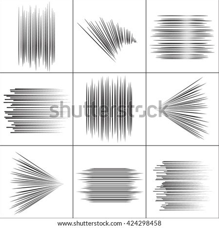 Speed lines set. Flying line particles. Fight line stamp Manga graphic. Sun rays or star burst line Black vector elements Isolated.