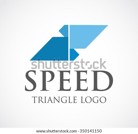 Speed of triangle group abstract vector and logo design or template fast move business icon of company identity symbol concept