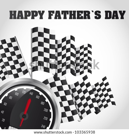 speed racing, happy fathers day card. vector illustration