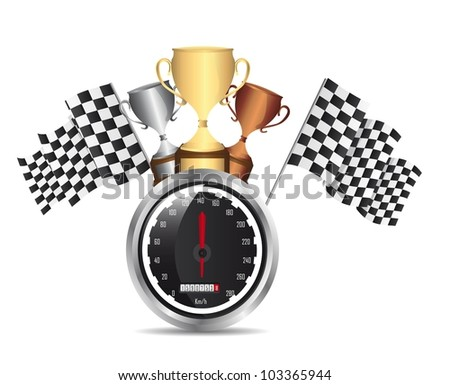speed racing with trophy with shadow over white background. vector